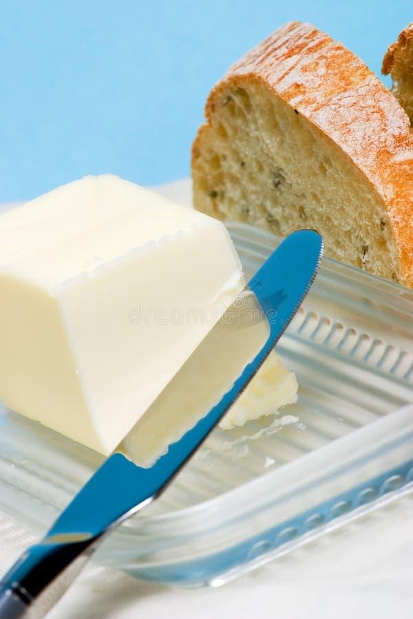 Het brood en de boter van Ciabatta voor ontbijt royalty-vrije stock fotografie