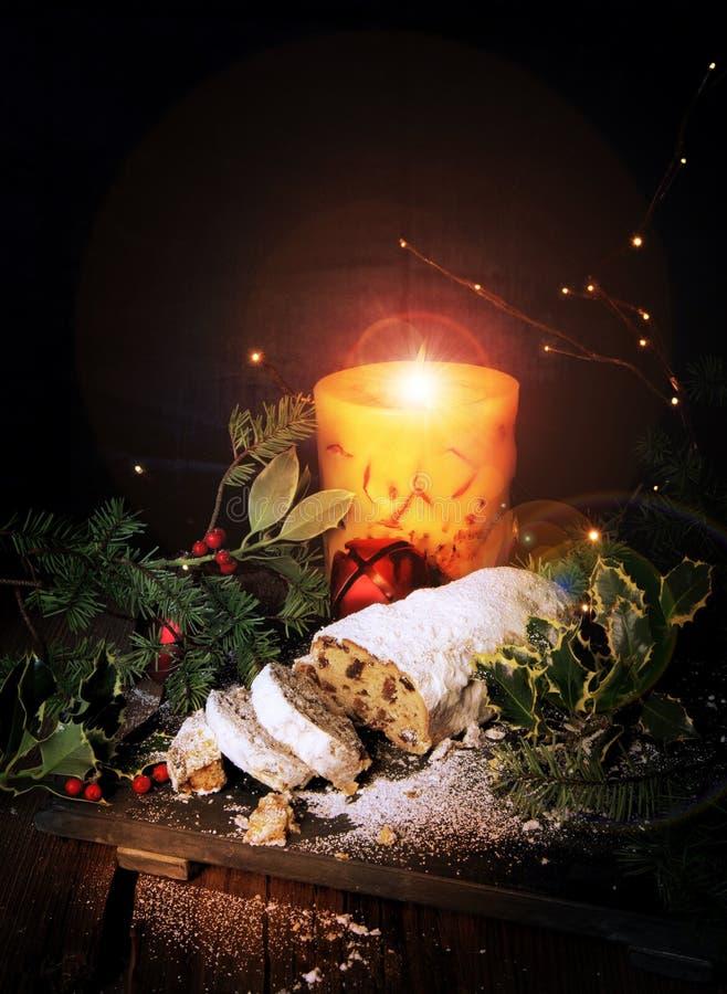 Het Brood Grote Kaars van Stollen Duitse Kerstmis royalty-vrije stock afbeeldingen