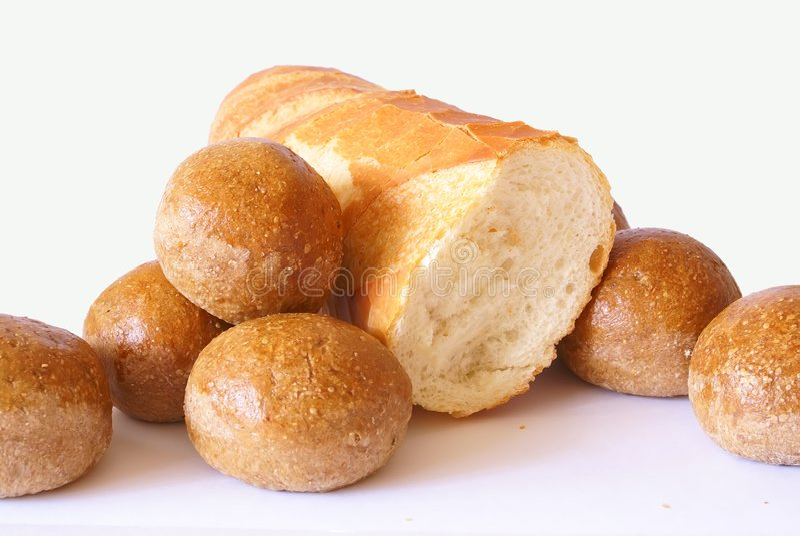 Het brood isoleerde wit stock foto's