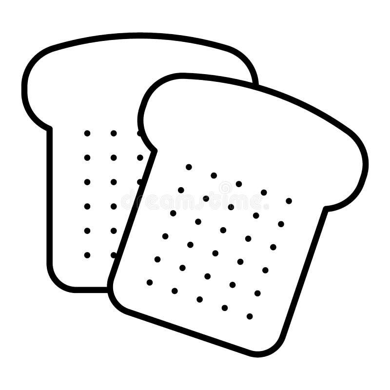 Het brood sneed dun lijnpictogram Gesneden brood vectordieillustratie op wit wordt geïsoleerd Bak het ontwerp van de overzichtsst stock illustratie