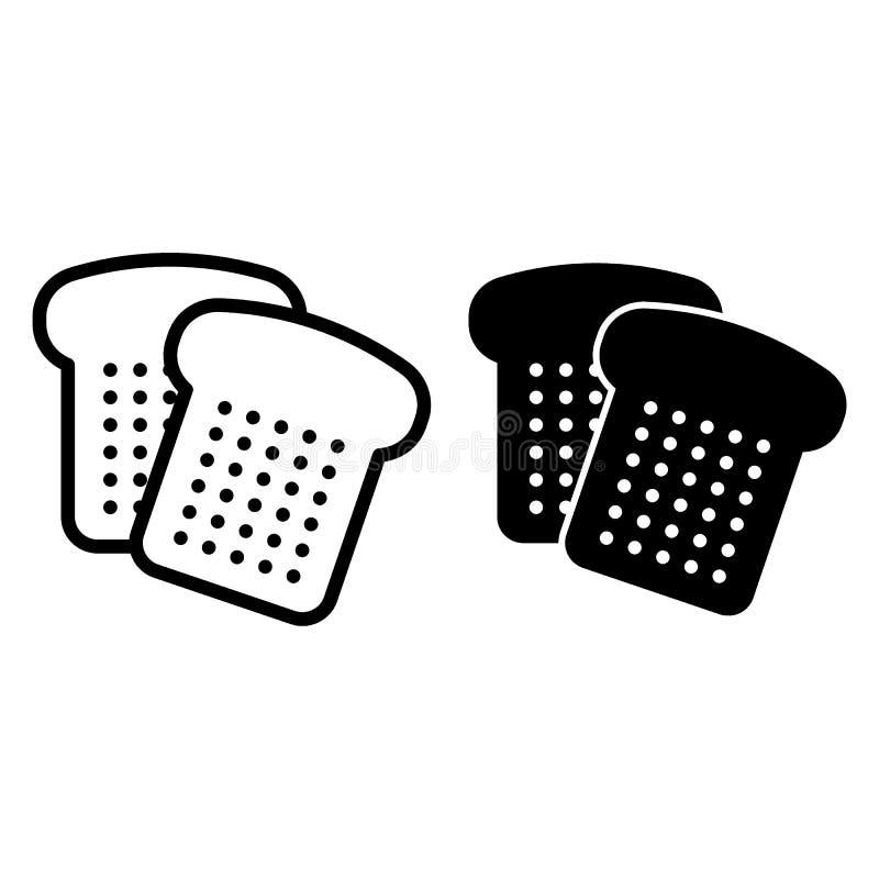 Het brood sneed lijn en glyph pictogram Gesneden brood vectordieillustratie op wit wordt geïsoleerd Bak het ontwerp van de overzi vector illustratie