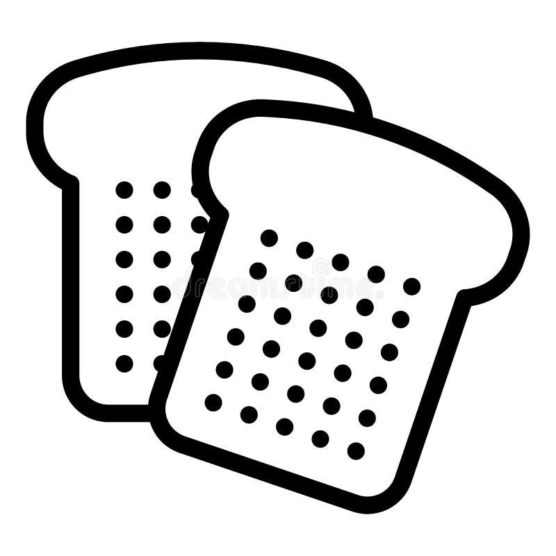 Het brood sneed lijnpictogram Gesneden brood vectordieillustratie op wit wordt geïsoleerd Bak het ontwerp van de overzichtsstijl, stock illustratie