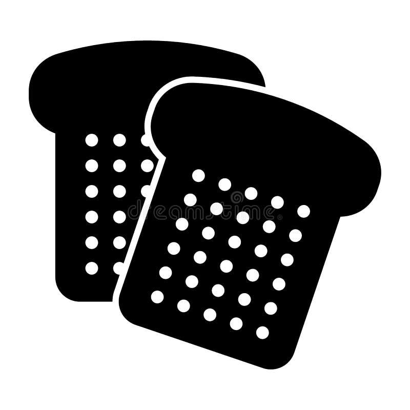 Het brood sneed stevig pictogram Gesneden brood vectordieillustratie op wit wordt geïsoleerd Bak glyph stijlontwerp, voor Web wor vector illustratie