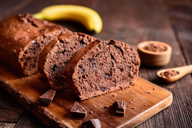 Het brood van de chocoladebanaan royalty-vrije stock foto's