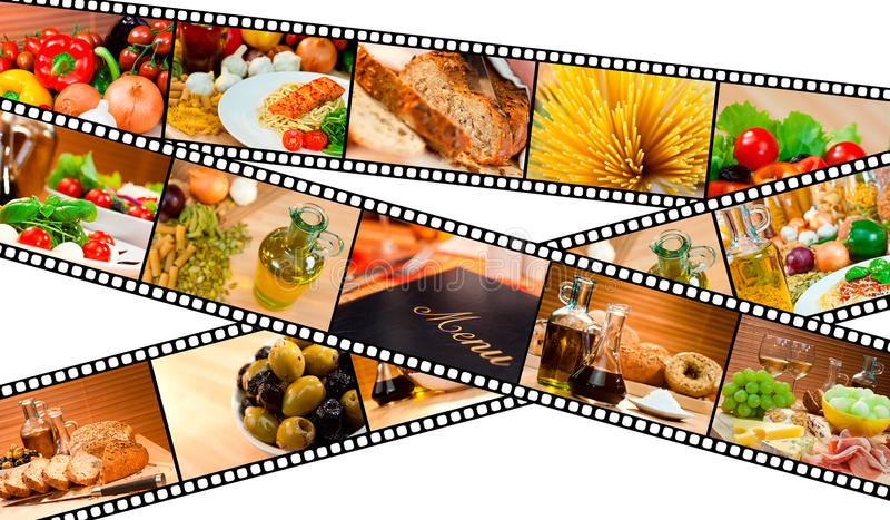 Het Brood van de Deegwaren van de Salade van het Menu van de Montering van het Voedsel van de Strook van de film royalty-vrije illustratie