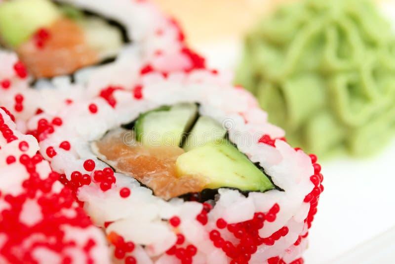 Het broodje en wasabi van sushi royalty-vrije stock fotografie