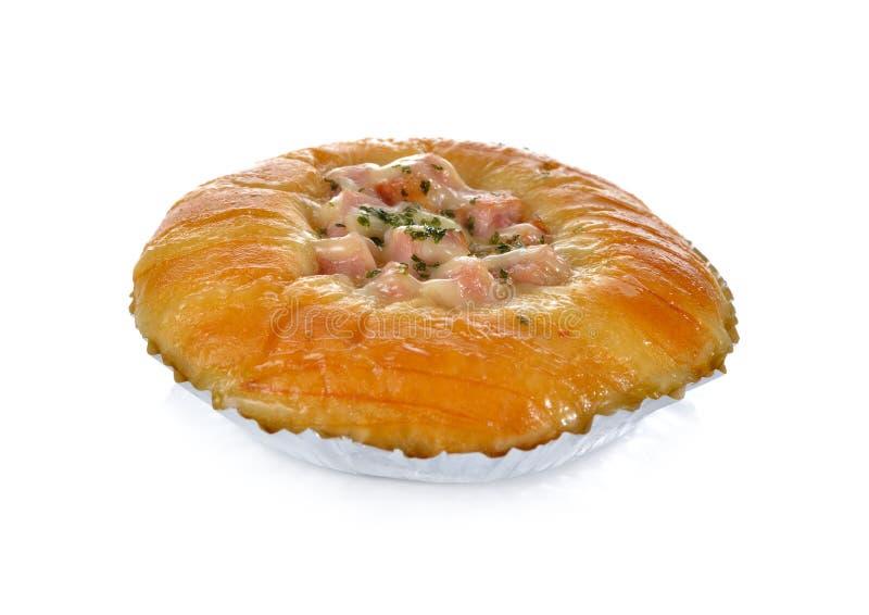 Het broodje van de baconkaas op wit royalty-vrije stock afbeelding