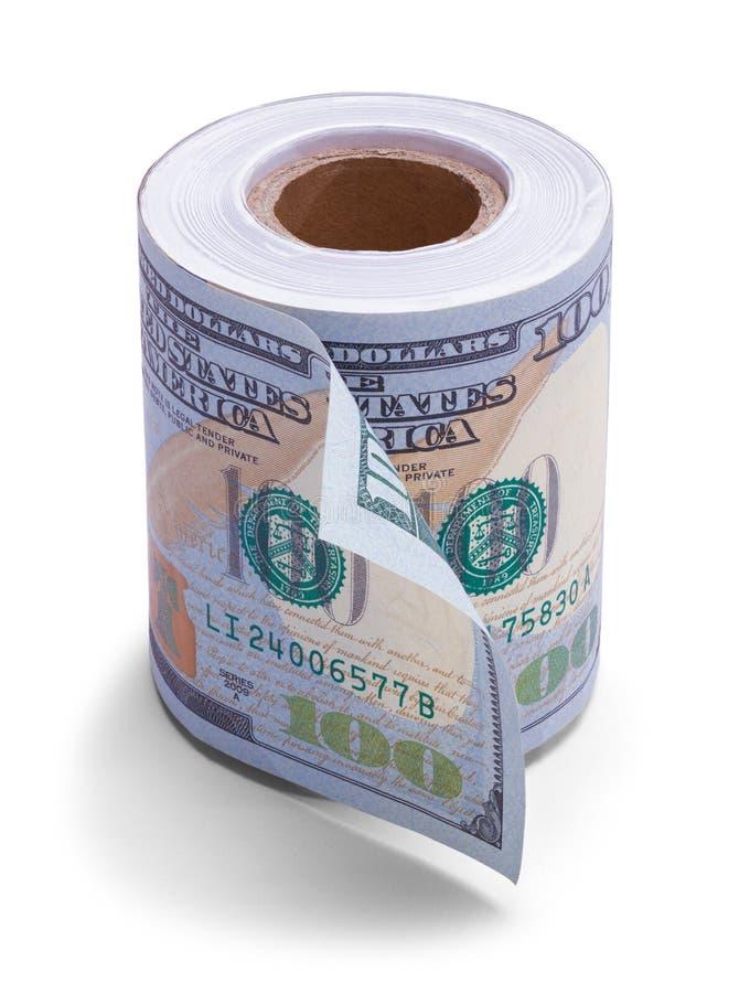 Het Broodje van het honderd Dollarstoiletpapier stock foto's