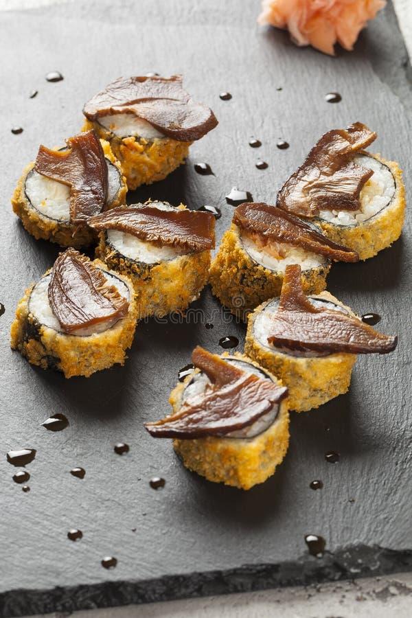 Het broodje van sushi Hoogste mening stock afbeelding