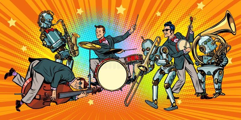 Het broodjesband van de jazzrots n van mensen en robots royalty-vrije illustratie