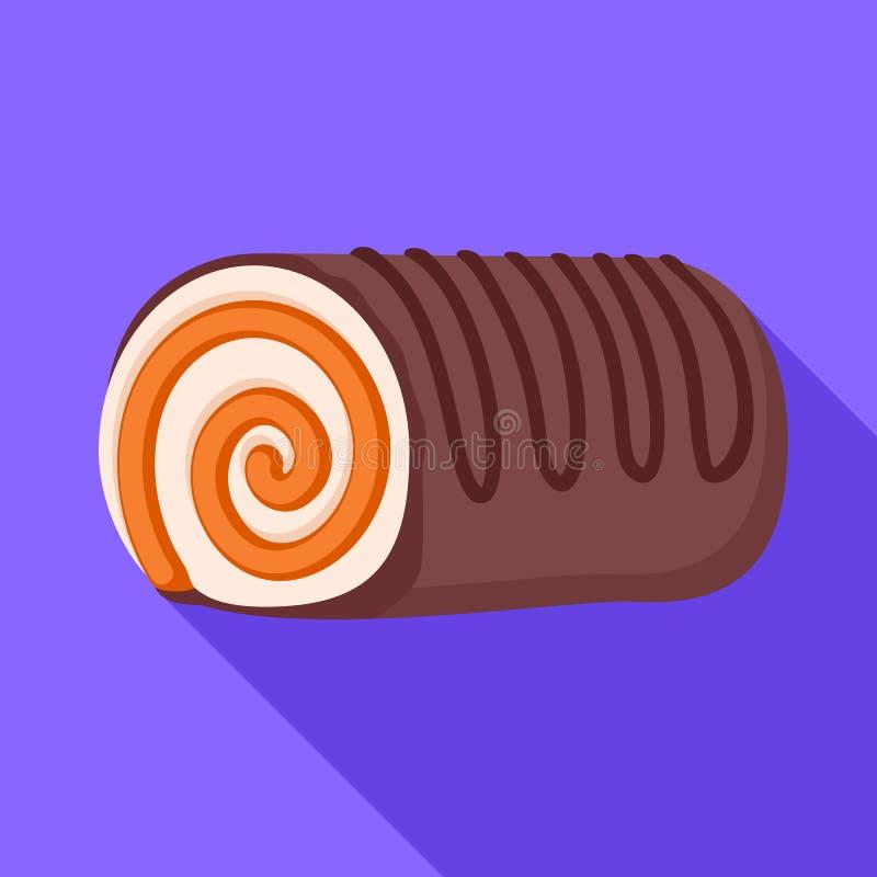Het broodjespictogram van de chocoladeroom, vlakke stijl stock illustratie