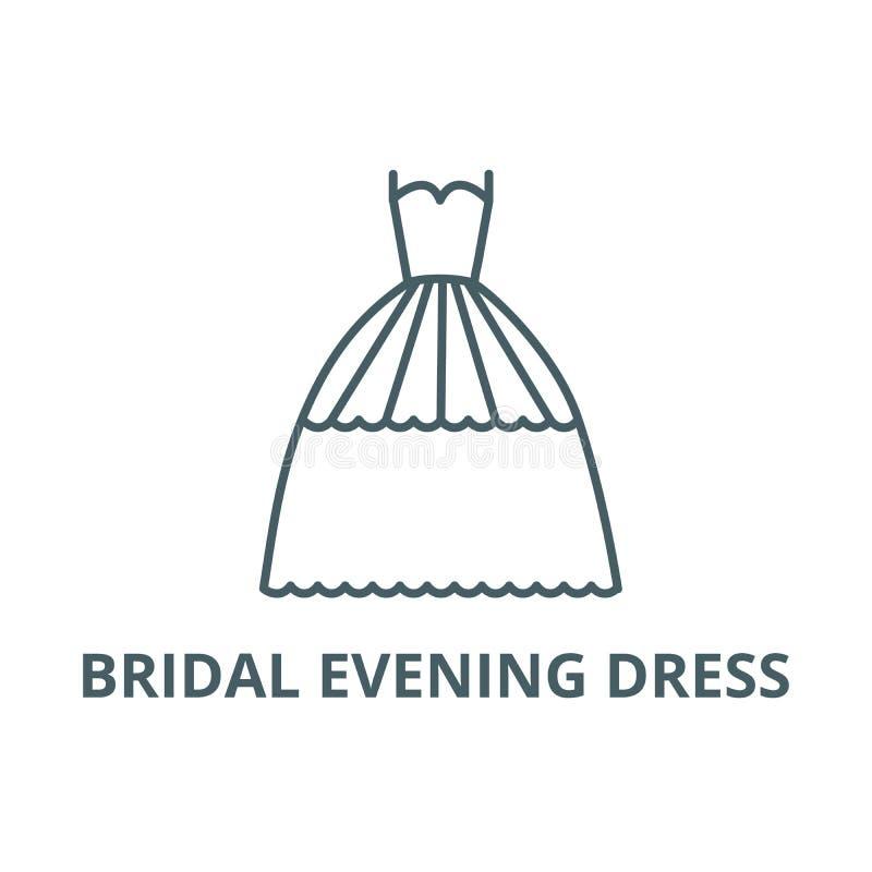 Het bruids pictogram van de avondjurklijn, vector Het bruids teken van het avondjurkoverzicht, conceptensymbool, vlakke illustrat stock illustratie