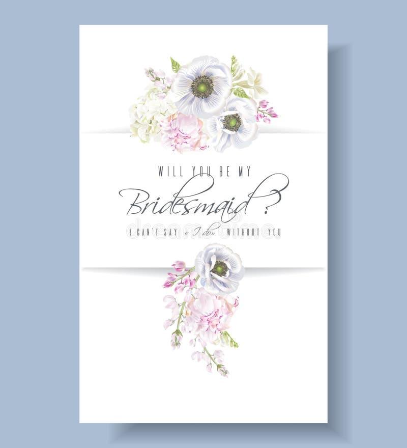 Het bruidsmeisje van de pioenanemoon royalty-vrije illustratie