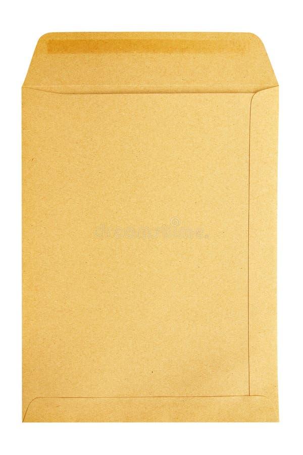 Het bruine document van de Envelop dat op witte achtergrond wordt geïsoleerd stock afbeelding