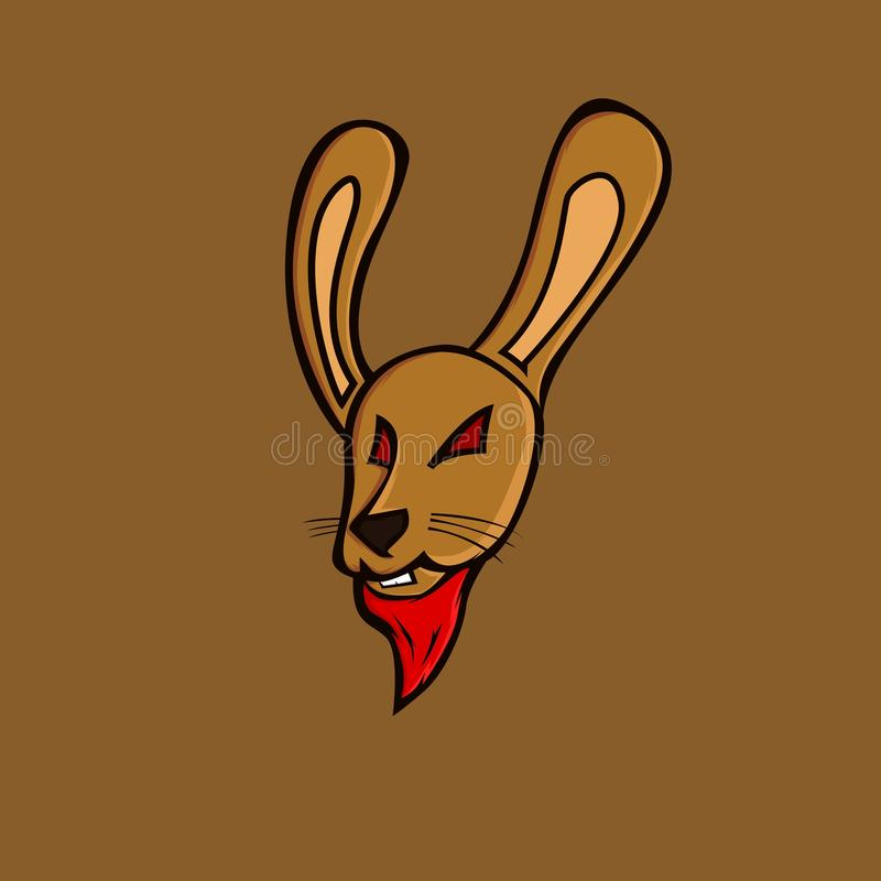 Het bruine embleem van de konijnmascotte royalty-vrije illustratie