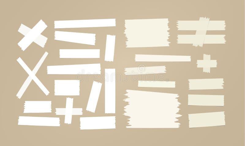 Het bruine en witte kleverige document, kleefstof, afplakband plakte op bruine achtergrond vector illustratie