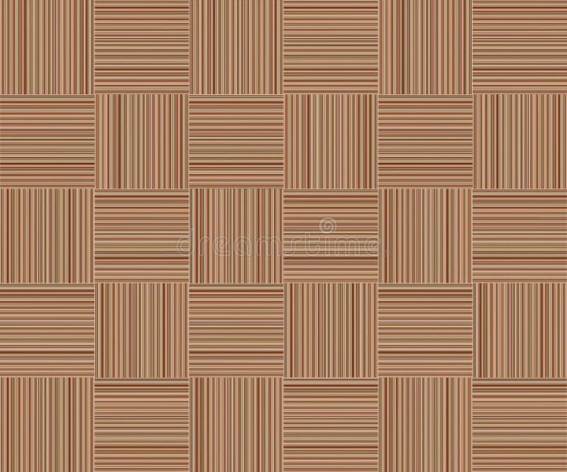 Het bruine gestreepte houten rieten canvas van de achtergrond vierkante cellulaire patroontextuur stock illustratie