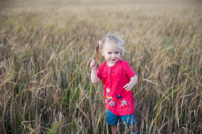 Het bruine haarmeisje spelen op het roggegebied stock foto's
