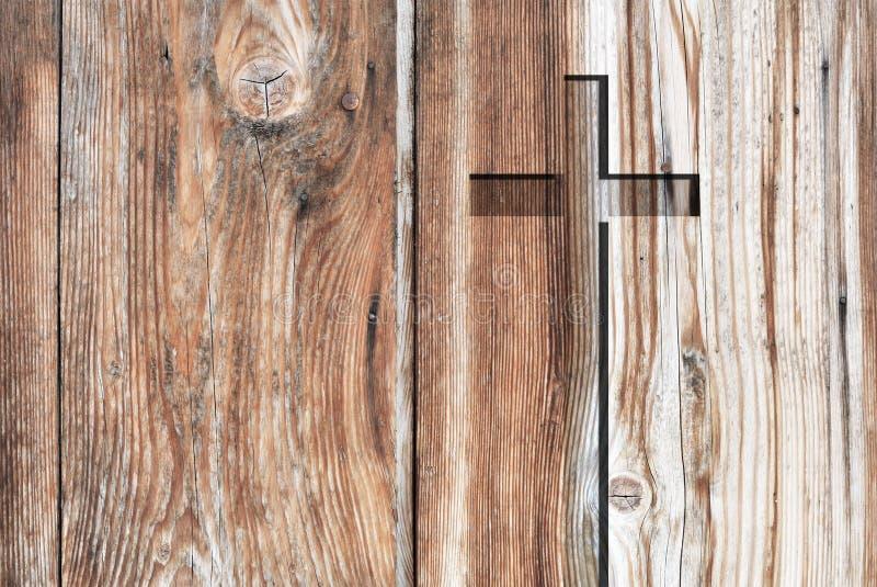 Het bruine oude christelijke kruis van het godsdienstsymbool stock foto's