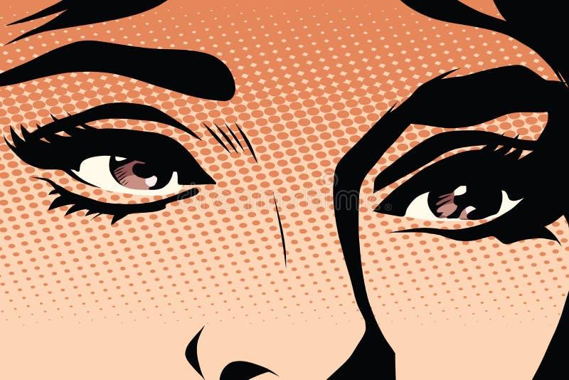 Het bruine pop-art van de ogen retro vrouw stock illustratie