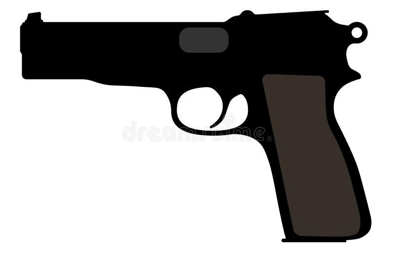 Het bruinen van Belgisch kanon Vectorsilhouetwapen, pistool, kanon stock illustratie