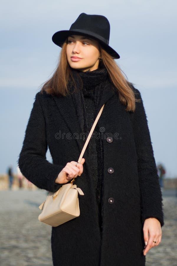 Het brunette van de de wintermanier stock fotografie