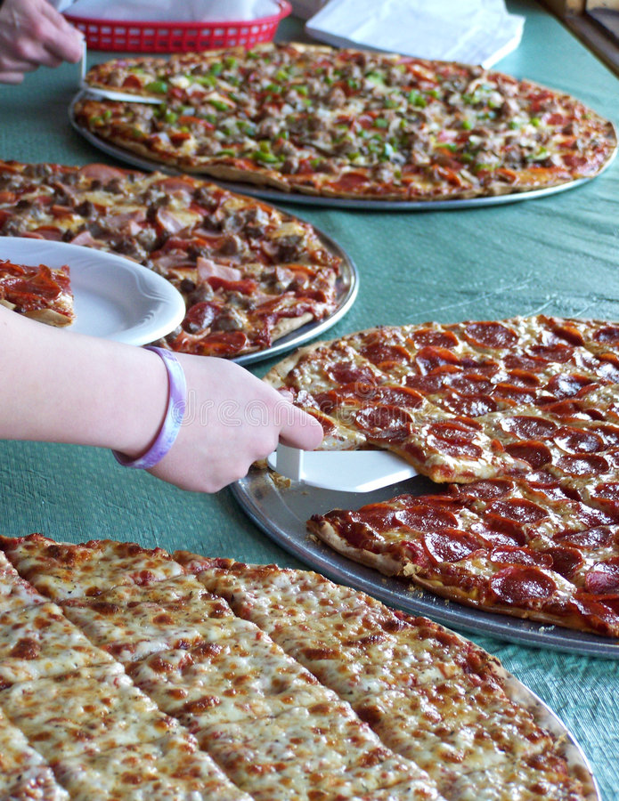 Het Buffet van de pizza stock afbeeldingen