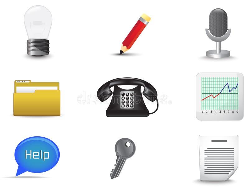 Het bureau en bedrijfs diverse pictogram plaatste (vector royalty-vrije illustratie