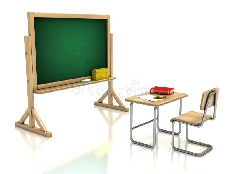 Het bureau en het bord van de klaslokaalstoel stock illustratie