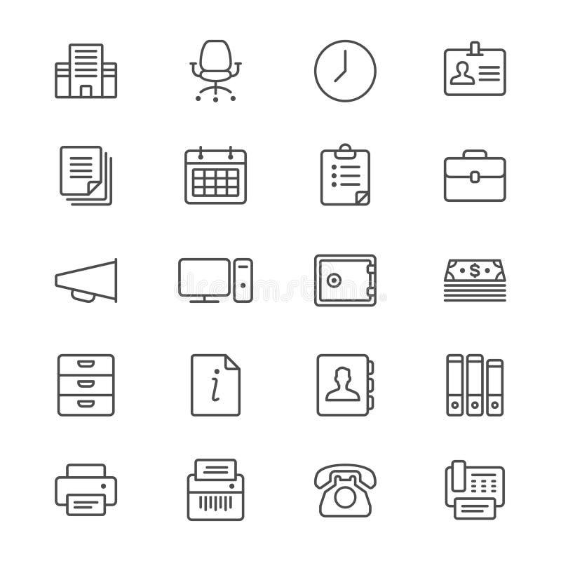 Het bureau levert dunne pictogrammen royalty-vrije illustratie