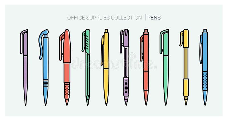 Het bureau levert inzameling Geplaatste pennen Schrijvende hulpmiddelen Overzichtsstijl Vectorpictogrammen van de ballpoint de du stock illustratie