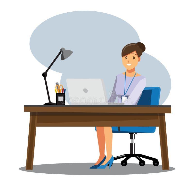 Het Bureau van bedrijfsvrouwenmensen, Vectorillustratiebeeldverhaal characte royalty-vrije illustratie