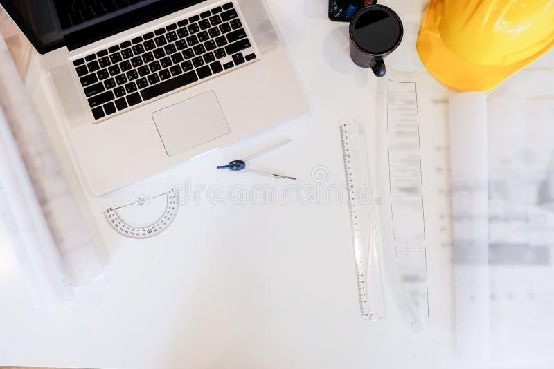 Het bureau van de architectuurtekening, Zaken, techniekconcept, concept stock afbeelding