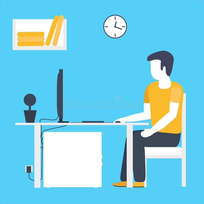 Het bureau van de bedrijfsmensenzitting Vlak ontwerpconcept werkruimte met computer stock foto's