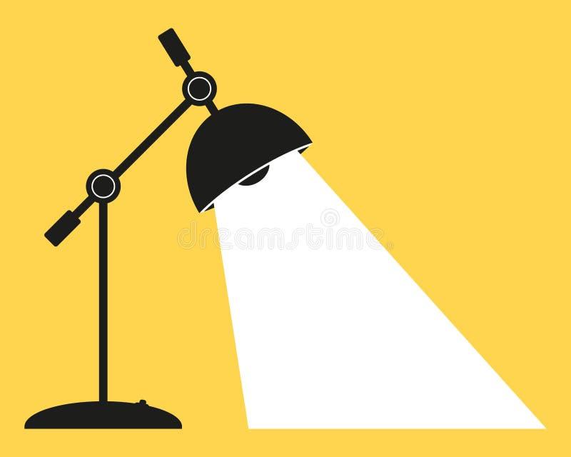 Het bureau van de bureaulamp, met het inbegrepen licht Silhouet van een elektrische lamp in dark, met ruimte voor tekst Vlak vect stock illustratie