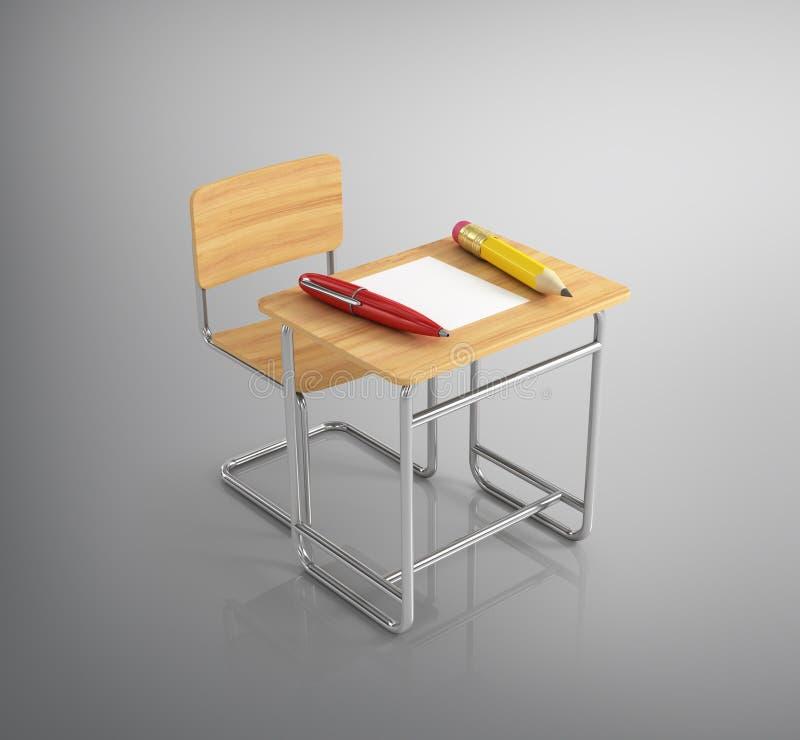 Het bureau van de klaslokaalstoel met kantoorbehoeften vector illustratie