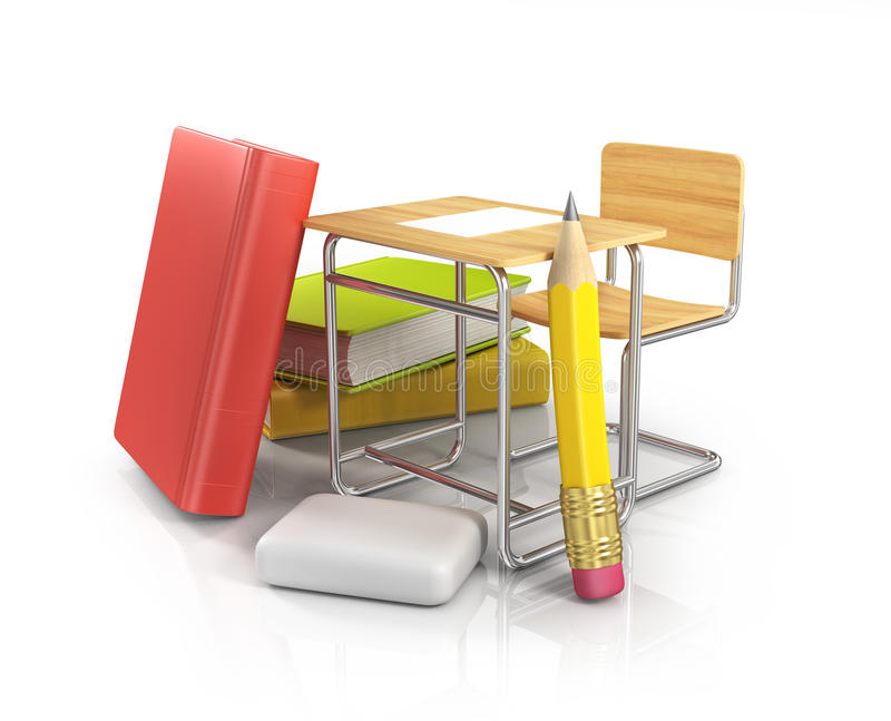 Het bureau van de klaslokaalstoel met kantoorbehoeften stock illustratie