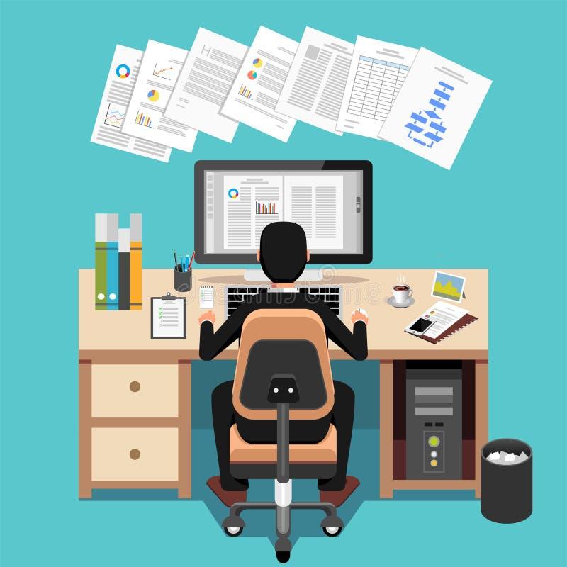 Het Bureau van zakenmanusing computer at vector illustratie
