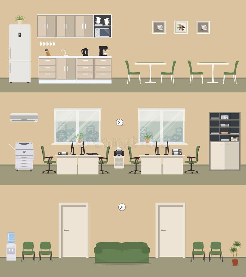 Het bureaugebouw in een beige kleurt: bureauruimte, gang, bureaukeuken royalty-vrije illustratie