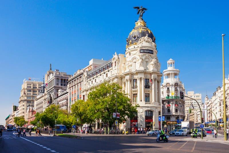 Het het Bureaugebouw van de Metropool in Madrid, Spanje royalty-vrije stock afbeelding