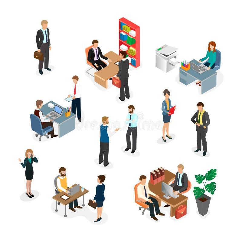 Het bureaupersoneel op het werk stock illustratie