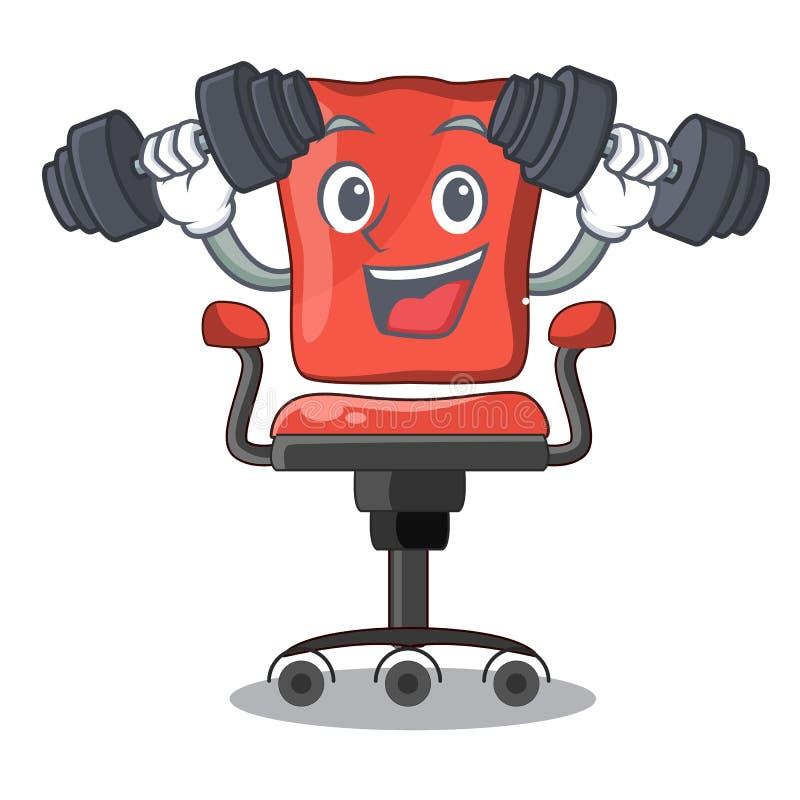 Het bureaustoel van het geschiktheidskarakter in binnen stock illustratie