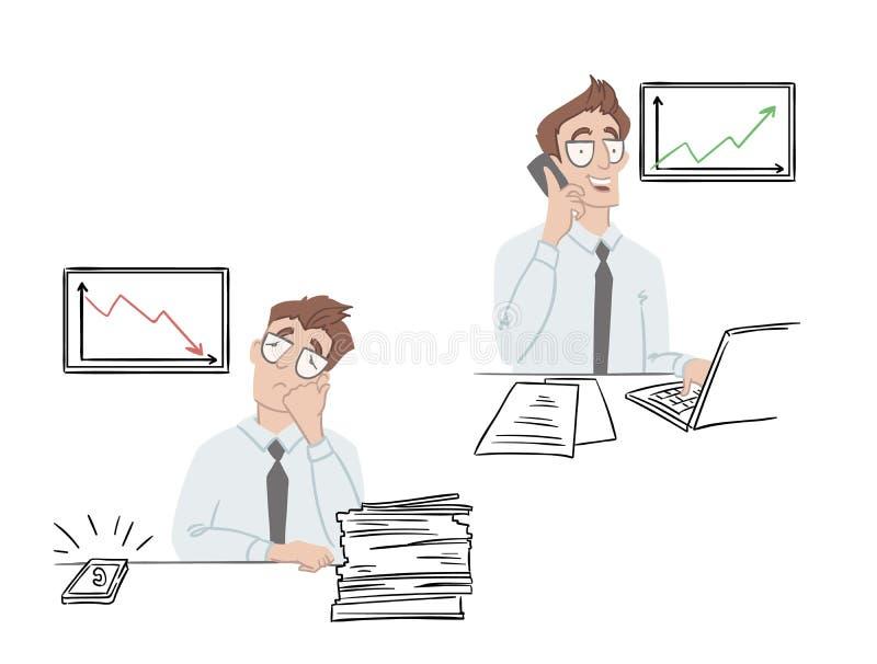 Het bureauwerk, bedrijfspictogrammen Vector illustratie royalty-vrije illustratie