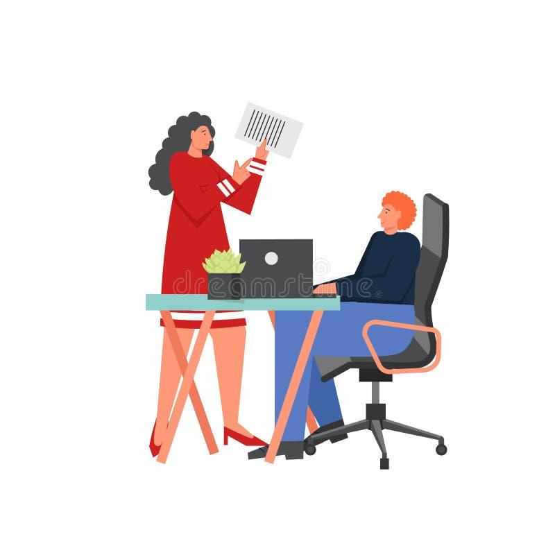 Het bureauwerk, de vector vlakke illustratie van het stijlontwerp vector illustratie