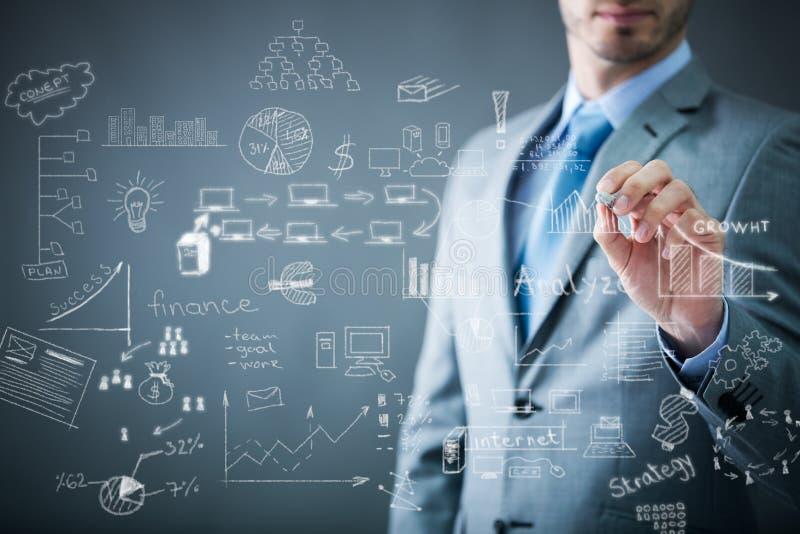 Het businessplan van de zakenmantekening stock foto