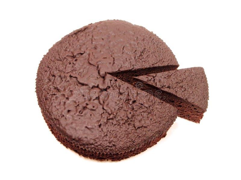 Het cake-bovenleer van de chocolade mening royalty-vrije stock afbeelding
