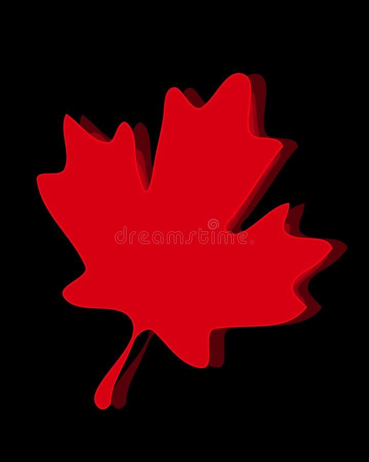 Het Canadese Blad van de Esdoorn op Zwarte vector illustratie