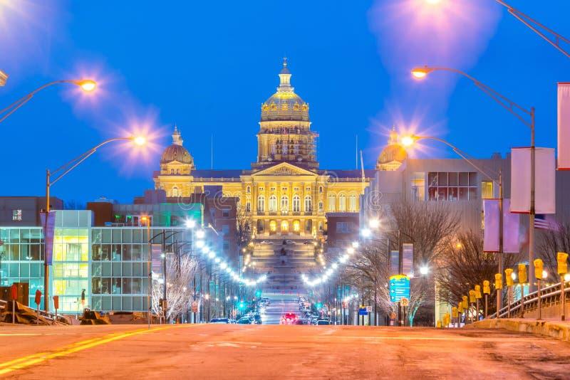 Het Capitool van de staat in Des Moines, Iowa stock foto