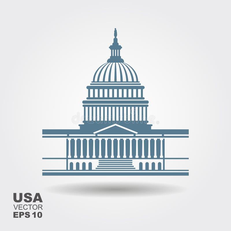 Het Capitool van Verenigde Staten de bouwpictogram in Washington DC royalty-vrije illustratie