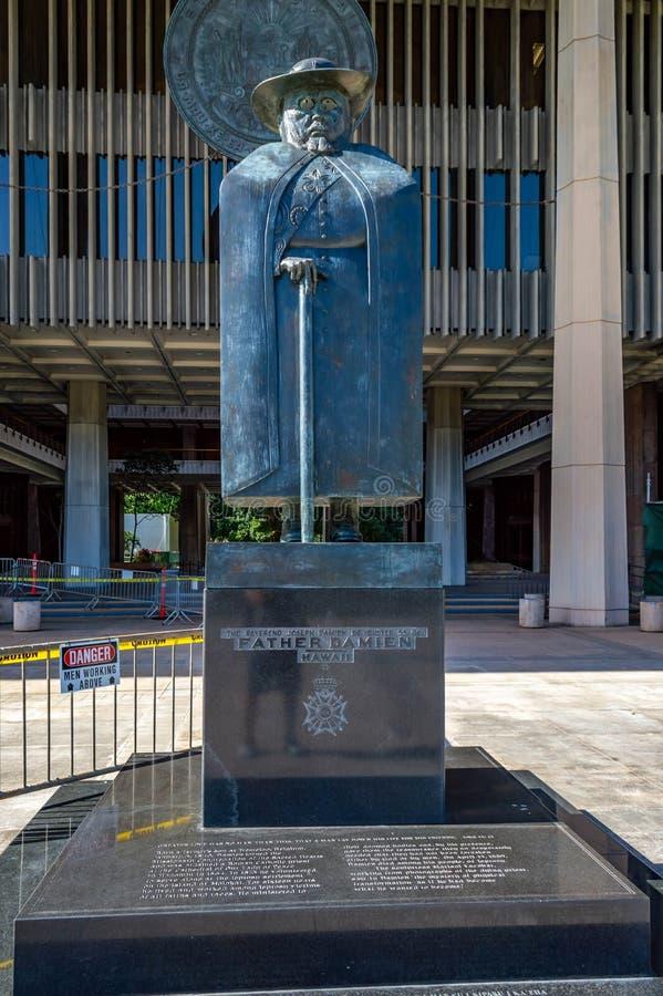 Het Capitoolvader Damien van de Staat van Hawaï royalty-vrije stock afbeeldingen